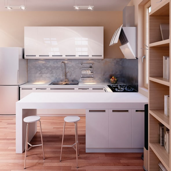 Représentation 3D d'un intérieur de cuisine moderne - meubles avec une finition moyen brillant